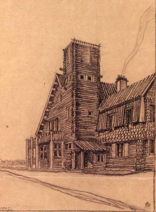 Дача Л. Андреева - вилла Аванс. Рисунок арх. А.Оля, 1907.jpg