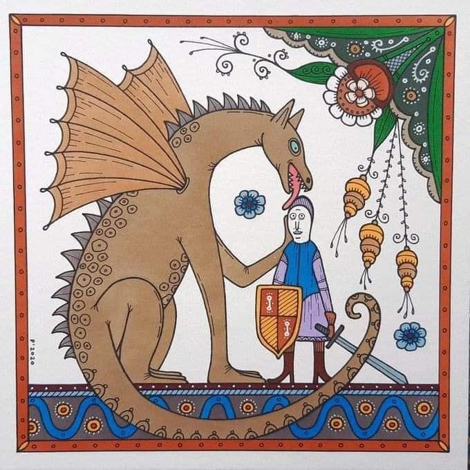 Дракон утешает святого Георгия, автор  Natallia Pavaliayeva.jpg