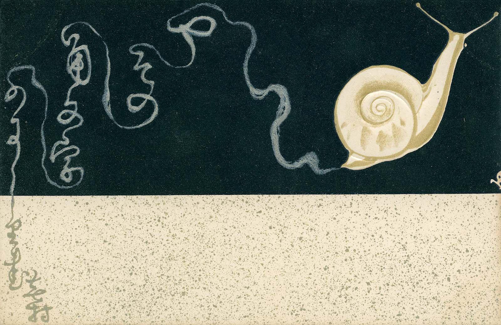 Сайто Шёшё Открытка Улитка и поэзия Бусона поздняя Мэйдзи.jpg