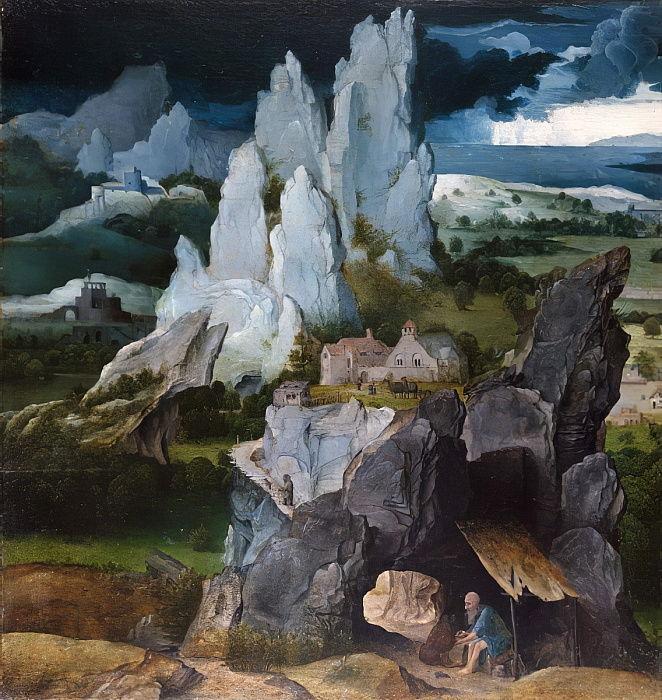 Святой Иероним в скалистом пейзаже, ок.1515 автора Иоахим.jpg
