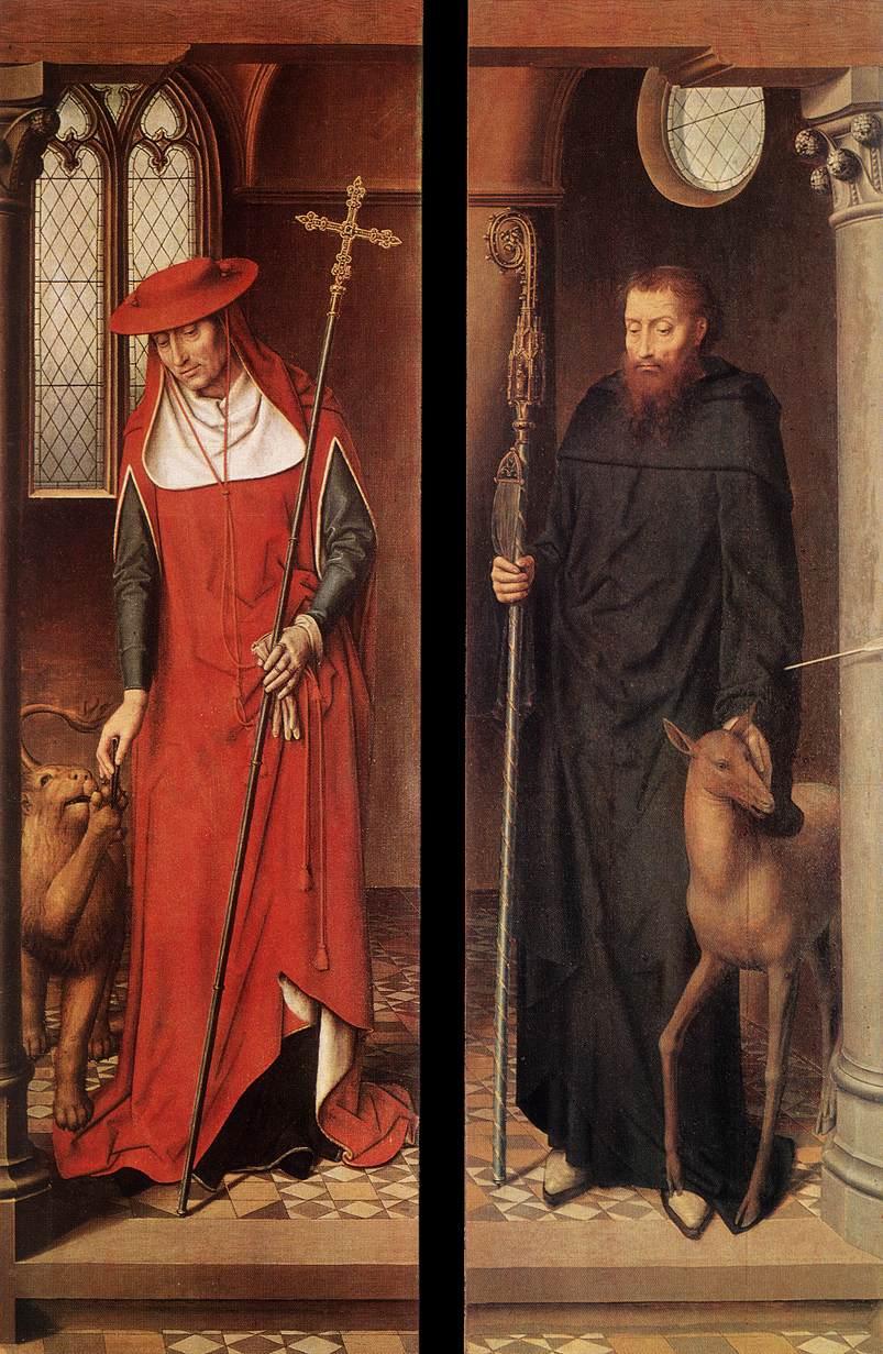 Ханс Мемлинг, Святой Иероним и Святой Эгидий. Оба с животными, 1491.jpg