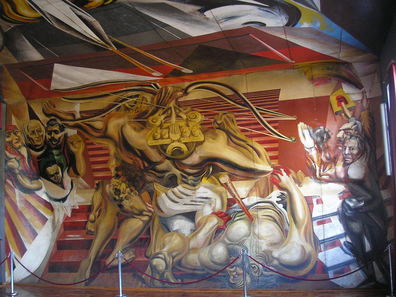 сикейросMurales_de_la_Escuela_México_de_Chillán,_Siqueiros_muro_norte.JPG