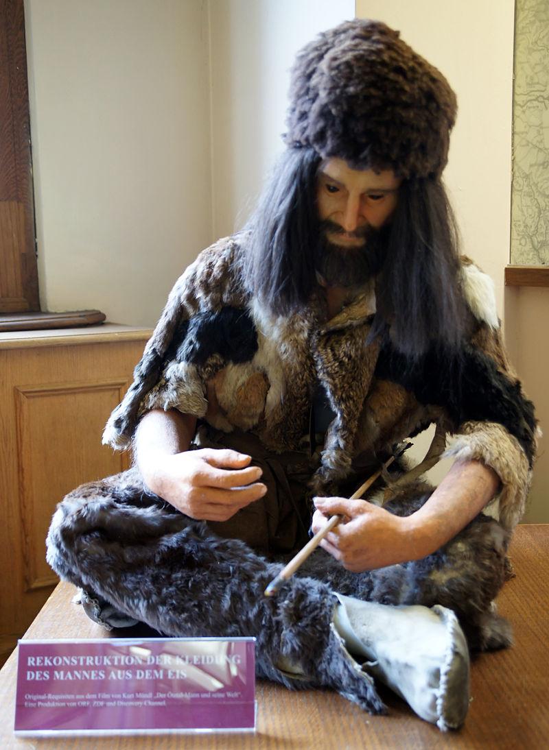 эци альпы 800px-Clothes_of_Ötzi,_Naturhistorisches_Museum_Wien.jpg