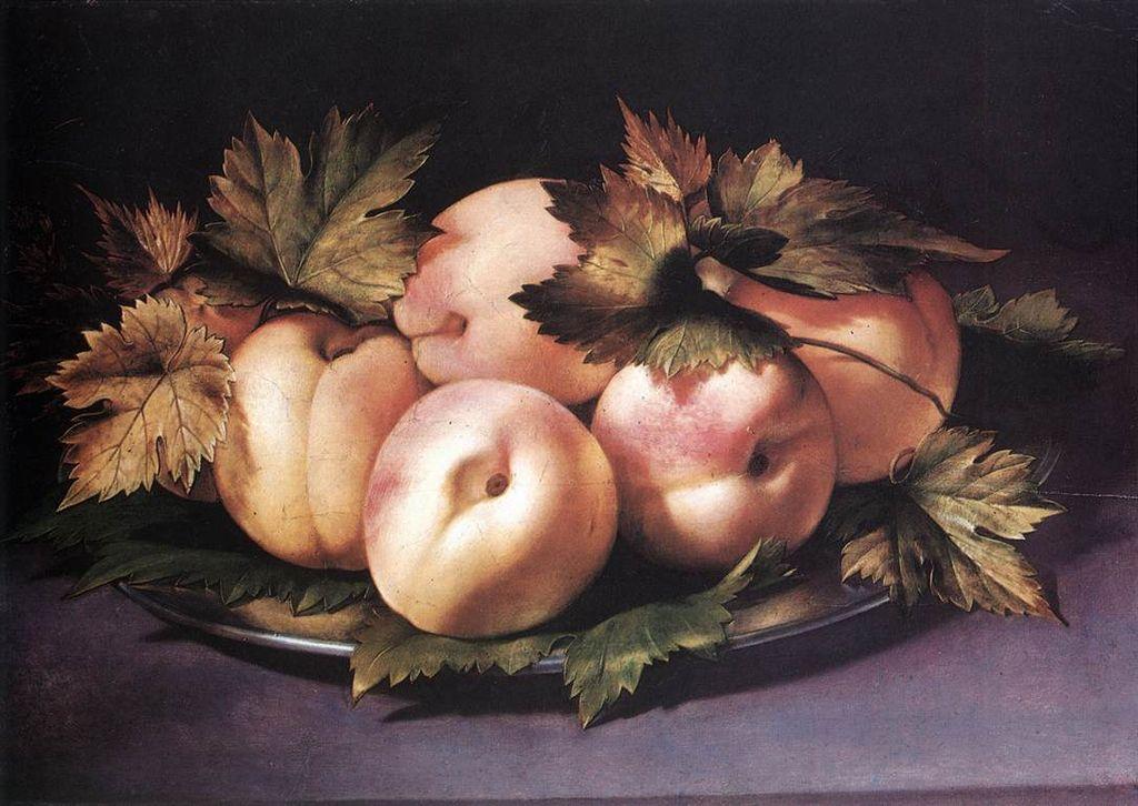 1024px-Giovanni_Ambrogio_Figino_-_Metal_Plate_with_Peaches_and_Vine_Leaves_-_WGA7879.jpg