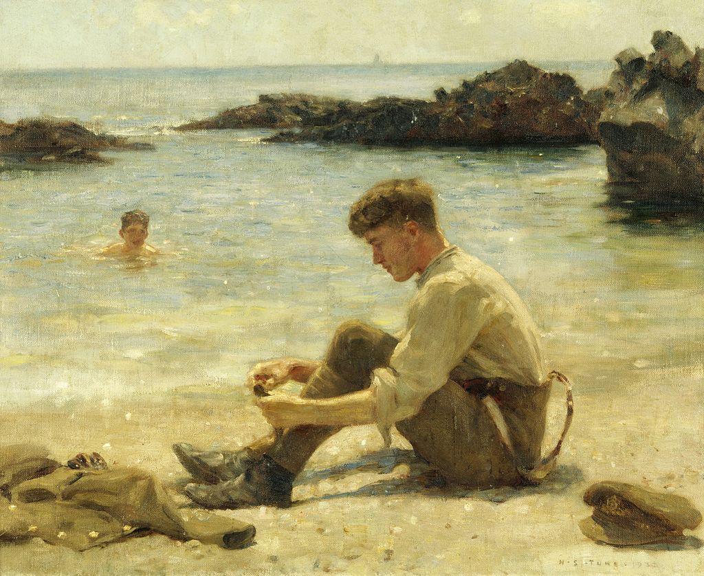 1024px-Henry_Scott_Tuke_-_T._E._Lawrence_as_a_cadet_at_Newporth_Beach,_near_Falmouth.jpg