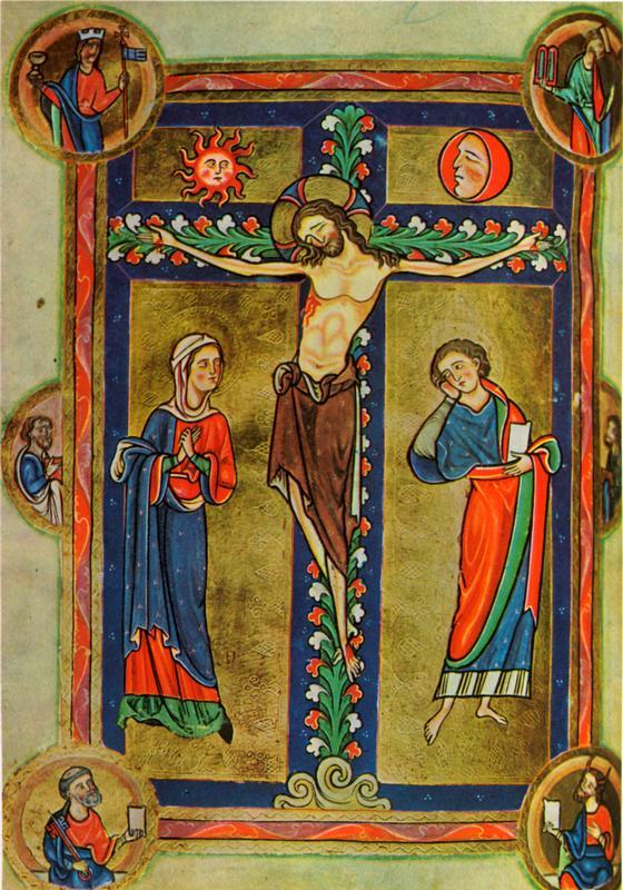 1201-1222  Psautier de Robert de Lindesey  Crucifixion  0,17x0,12 cm  Enluminure.jpg
