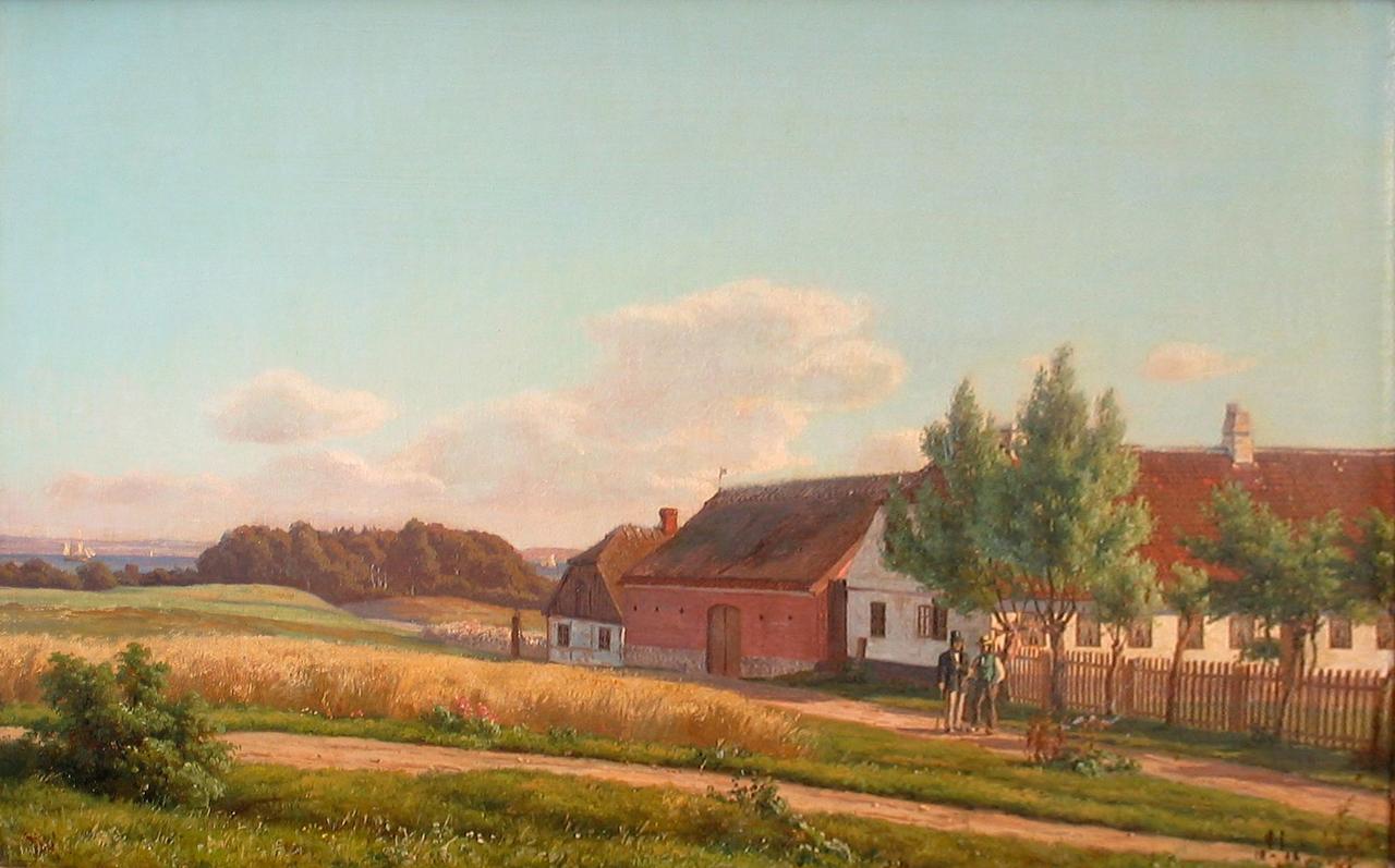 1280px-Carsten_Henrichsen_-_Sommerstemning_med_personer_i_samtale_ved_en_gård_-_1868.png