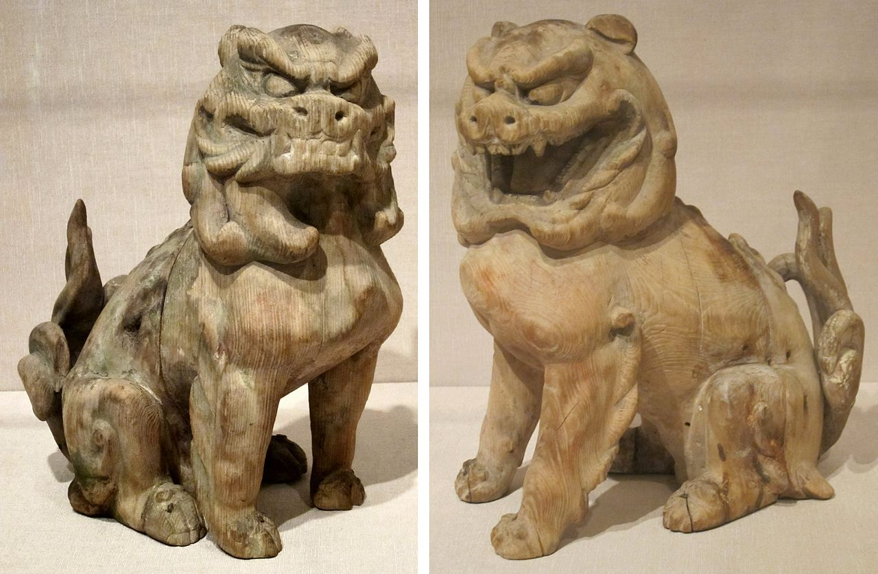 1280px-Pair_of_guardian_lions,_Japan,_Kamakura_period,_wood_with_traces_of_pigment,_HAA.JPG