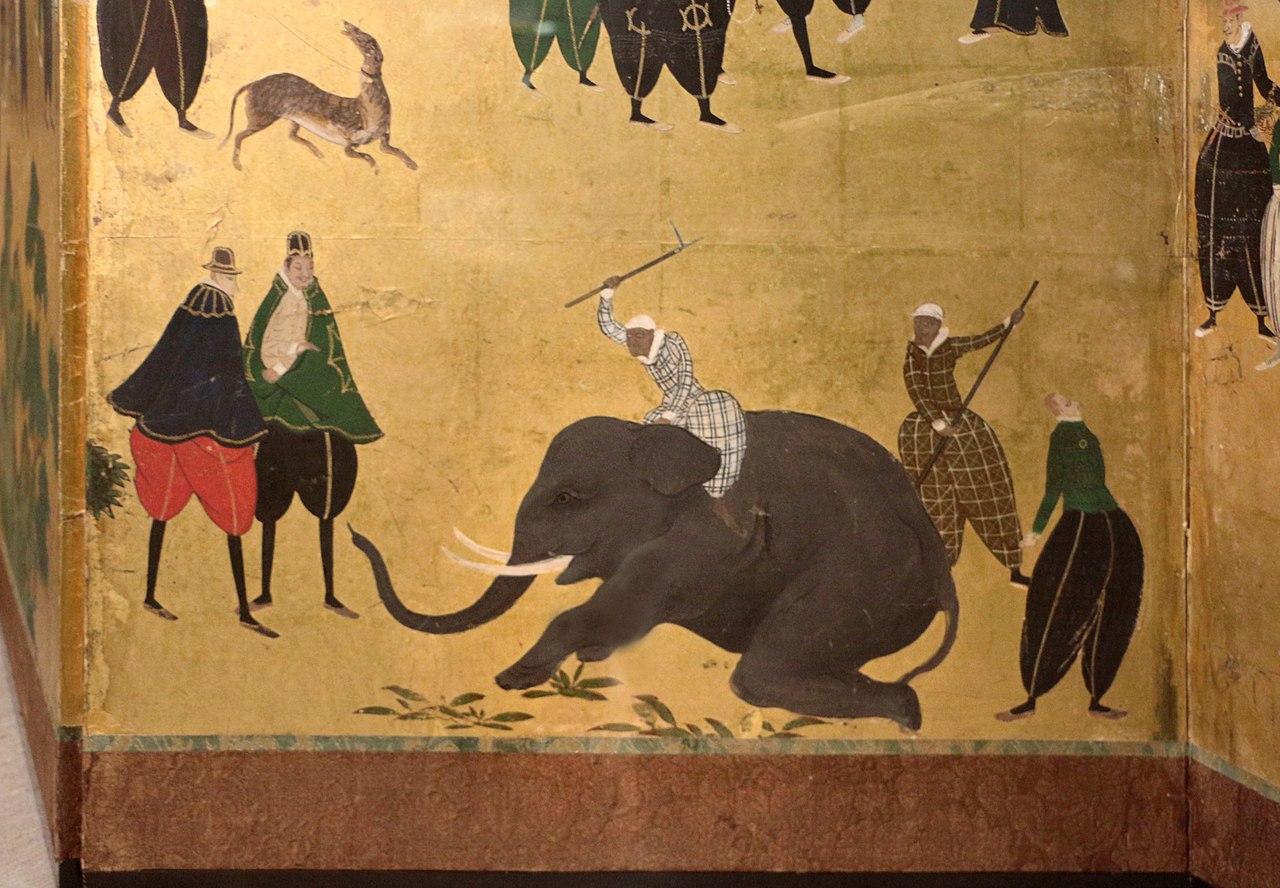1280px-Scuola_di_kano_(attr.),_paravento_con_mercanti_giapponesi,_1606_ca._03_elefante.jpg