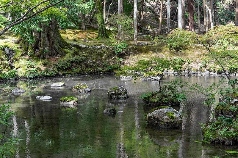 167.Сайхо-дзи.Пруд Конготи, опорные камни.jpg
