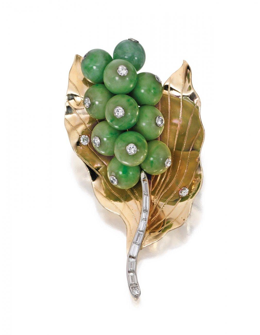 18 Karat Gold, Jade and Diamond Brooch, Cartier, Circa 1950.jpg