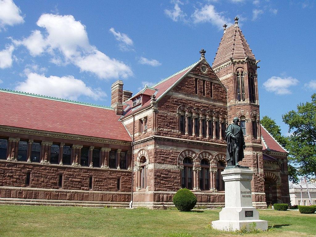 1876Woburn,_Massachusetts,_Library_with_statue_of_Benjamin_Thompson.JPG