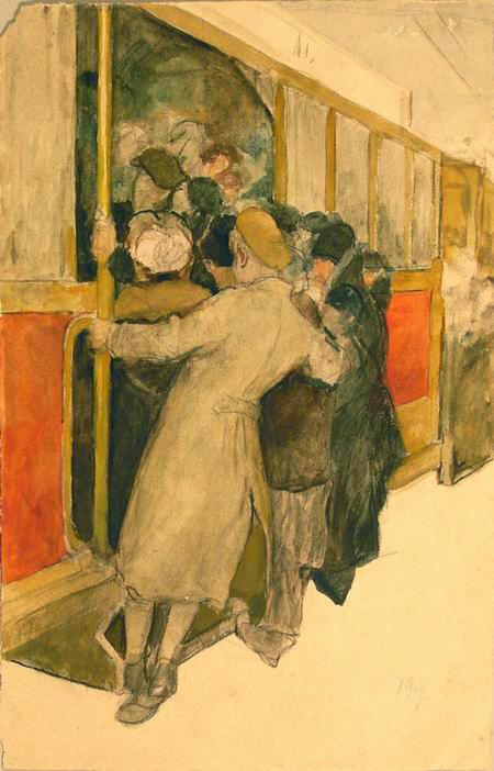 1919 Вахрамеев Александр Иванович (1874-1926) Посадка в трамвай — копия.jpg