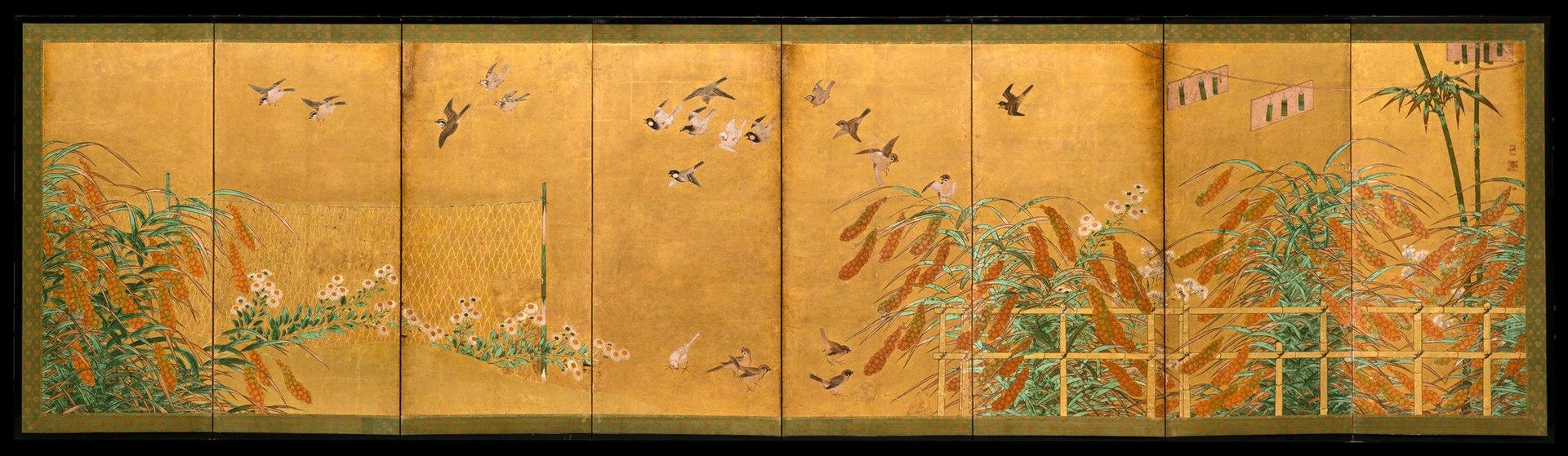 1920px-伝狩野山楽筆_粟に小禽図屏風-Autumn_Millet_and_Small_Birds_MET_DT1589.jpg