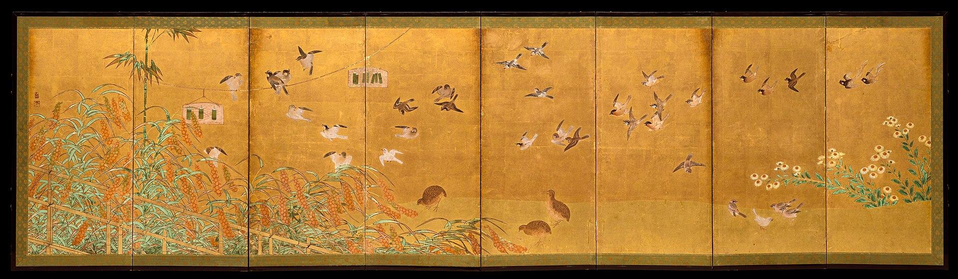 1920px-伝狩野山楽筆_粟に小禽図屏風-Autumn_Millet_and_Small_Birds_MET_DT1590.jpg