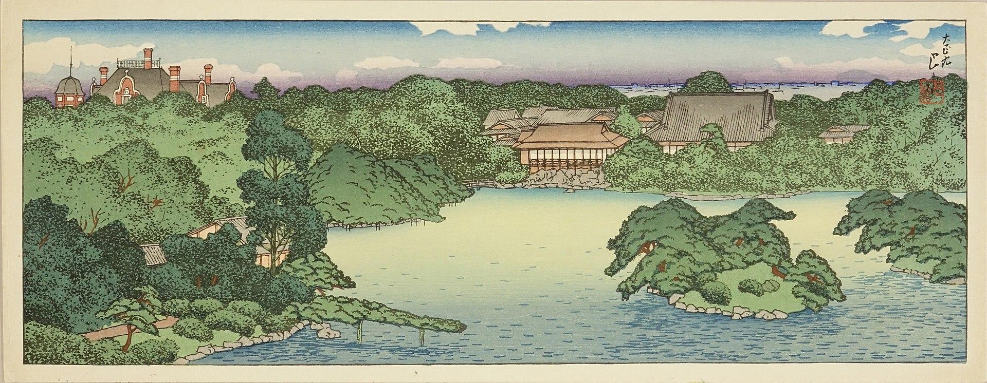 1920px-Mitsubishi_Fukagawa_bettei_no_zu,_Daisensui_no_zenkei_by_Kawase_Hasui.jpg