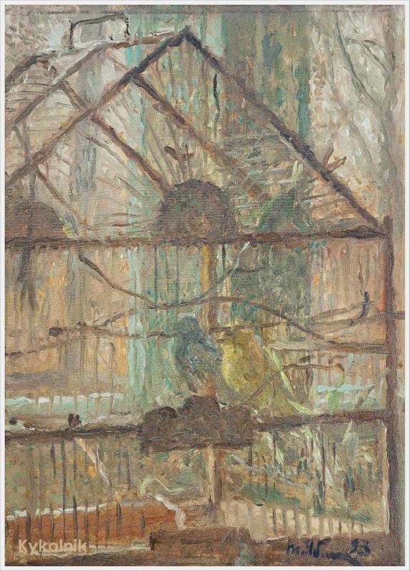 1993 Яблонская Татьяна Ниловна (Россия-Украина, 1917-2005)  «В клетке» 1993.jpg
