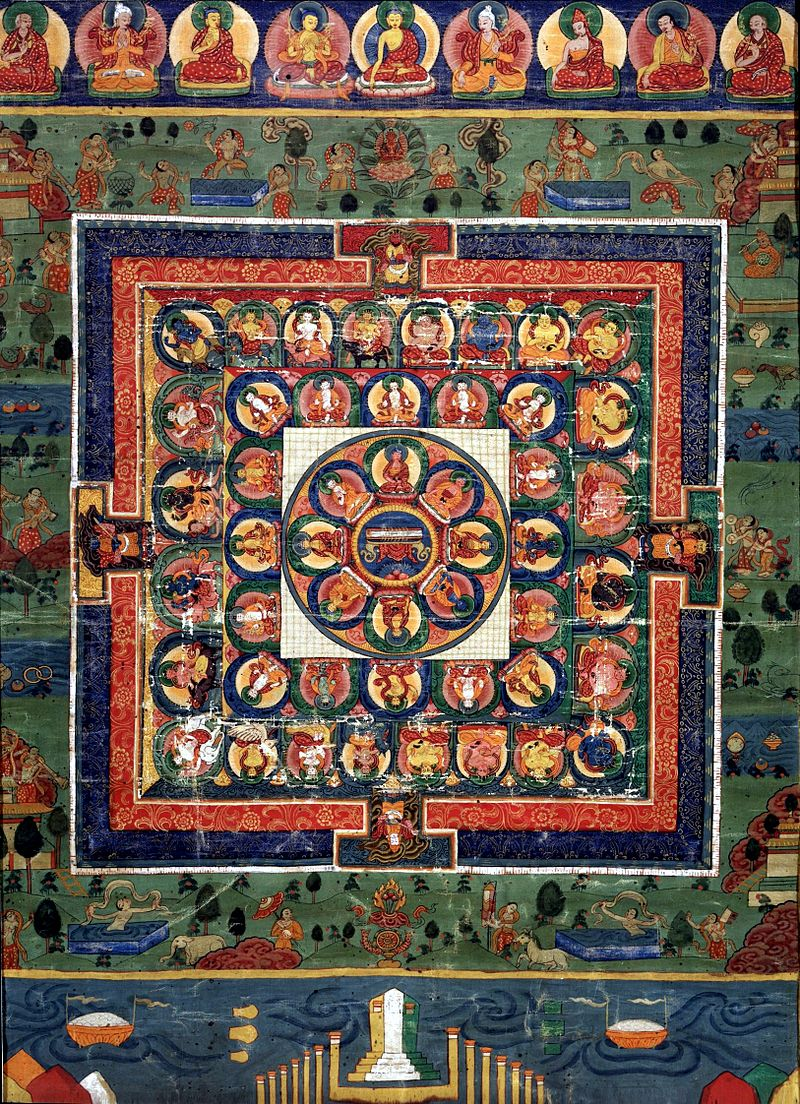 19Medicine_Buddha_painted_mandala_with_goddess_Prajnaparamita_in_center,_19th_century,_Rubin.jpg