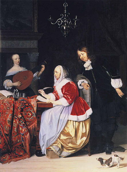 442px-Gabriel_Metsu_-_A_Young_Woman_Composing_Music_and_a_Curious_Man.JPG