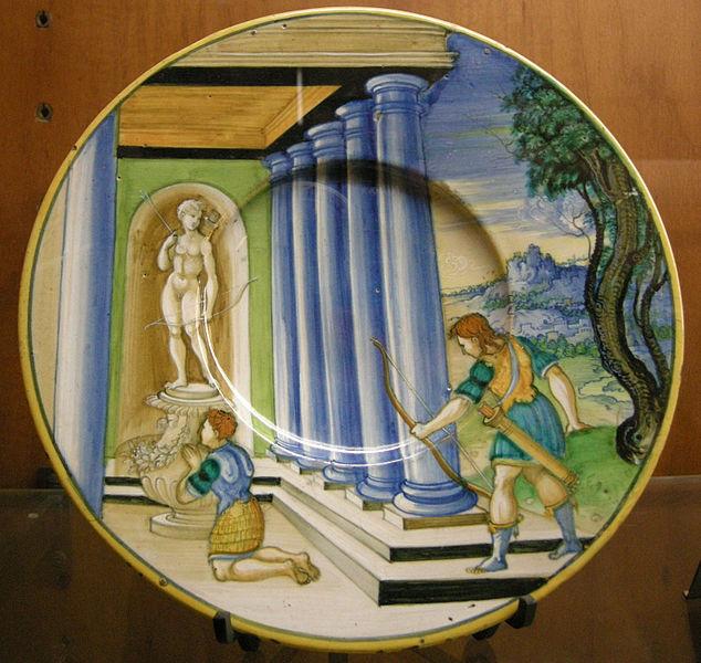 634px-C.sf.,_urbino,_nicola_da_urbino,_piatto_con_morte_di_achille,_1525-1535_circa.JPG