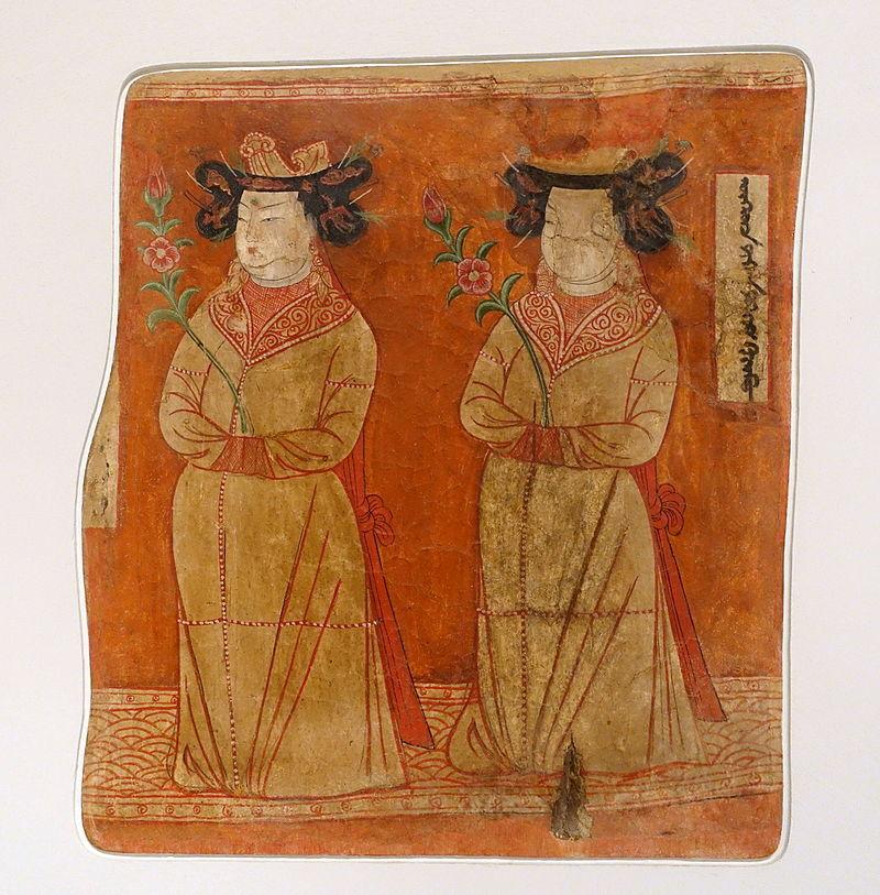 8-9 безекликUighur_princesses,_Bezeklik,_Cave_9,_c._8th-9th_century_AD,_wall_painting_-.JPG