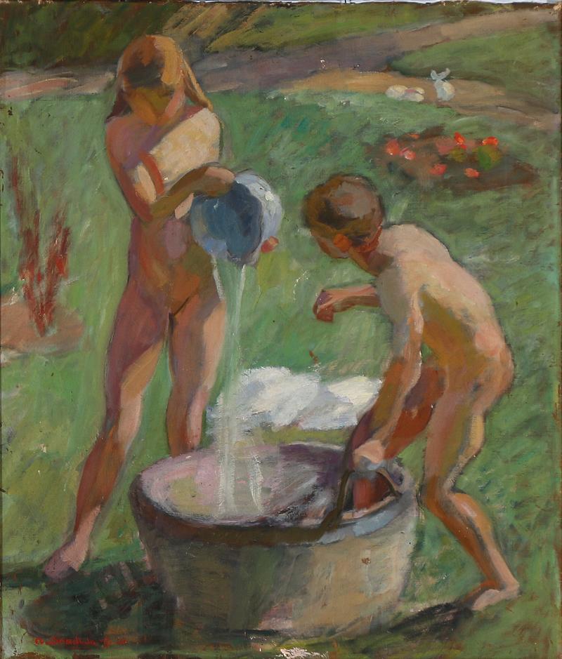 800px-Axel_Bredsdorff_-_To_børn_i_en_sommerhave_gør_badet_klart_-_1920.png