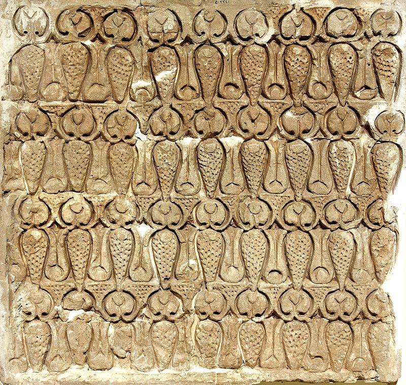 800px-Carved_stucco_panel_from_Samarra,_3rd_century_AH._The_Iraq_Museum.jpg