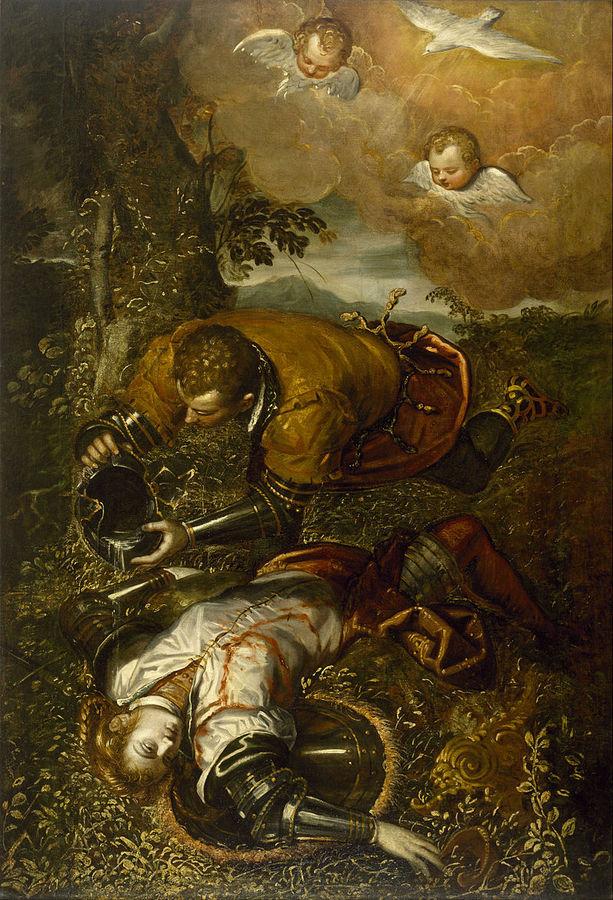 800px-Domenico_Tintoretto_-_Tancred_Baptizing_Clorinda_-_Google_Art_Project.jpg