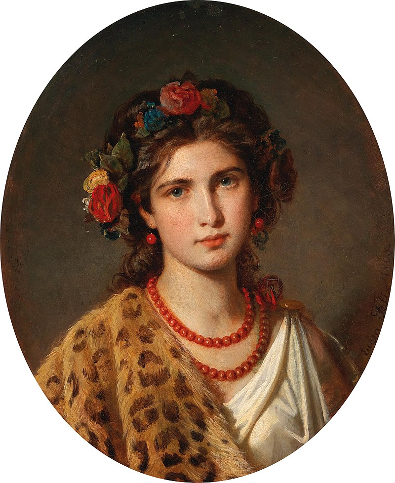 800px-Eugen_Felix_-_Portrait_of_a_Girl_with_Wreath_of_Roses_in_her_Hair_and_Leopard_Skin.jpg
