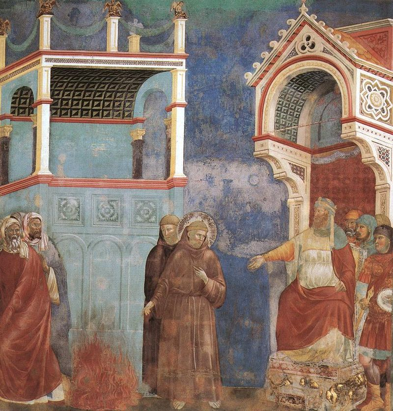800px-Giotto_-_Legend_of_St_Francis_-_-11-_-_St_Francis_before_the_Sultan_(Trial_by_Fire).jpg