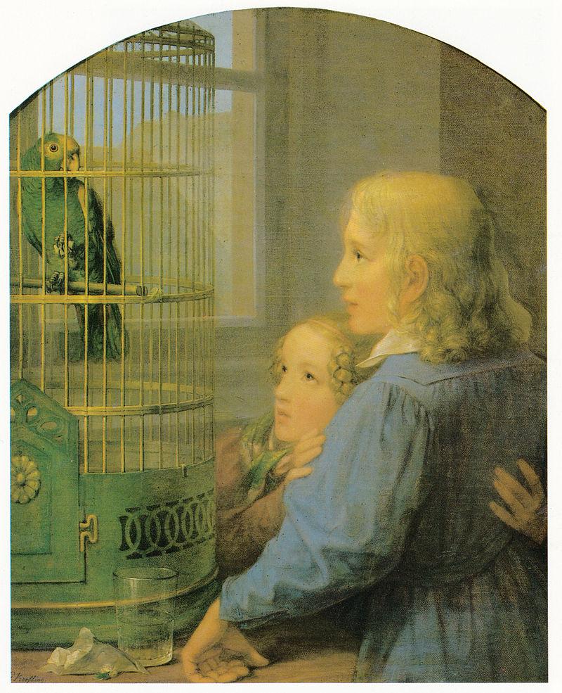 800px-Kersting_-_Zwei_Kinder_vor_einem_Papageienbauer.jpg
