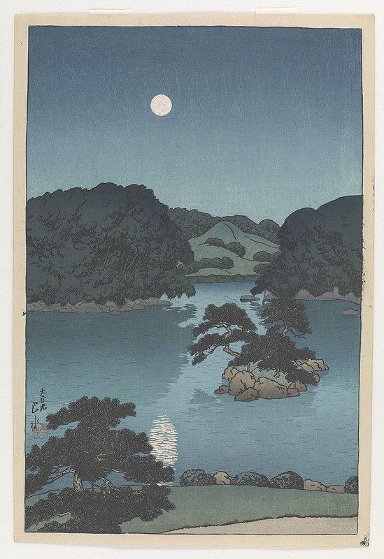 800px-Mitsubishi_Fukagawa_bettei_no_zu,_tsukiyo_(Daisensui)_by_Kawase_Hasui.jpg