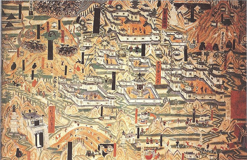 800px-Mogao_Cave_61,_painting_of_Mount_Wutai_monasteries.jpg
