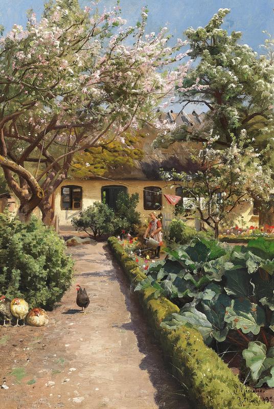 800px-Peder_Mønsted_-_Forår_i_haven_med_pige_som_vander_blomster_-_1920.png