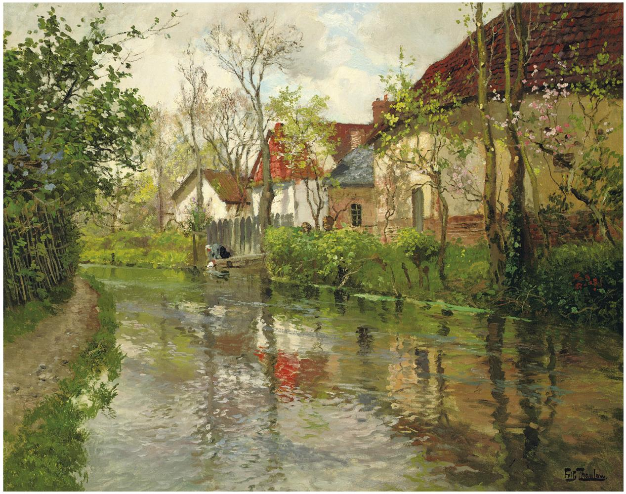 _Frits Thaulow (Norwegian, 1847-1906) .  Cottages by a river. oil on  canvas 64 x 79 cm..JPG