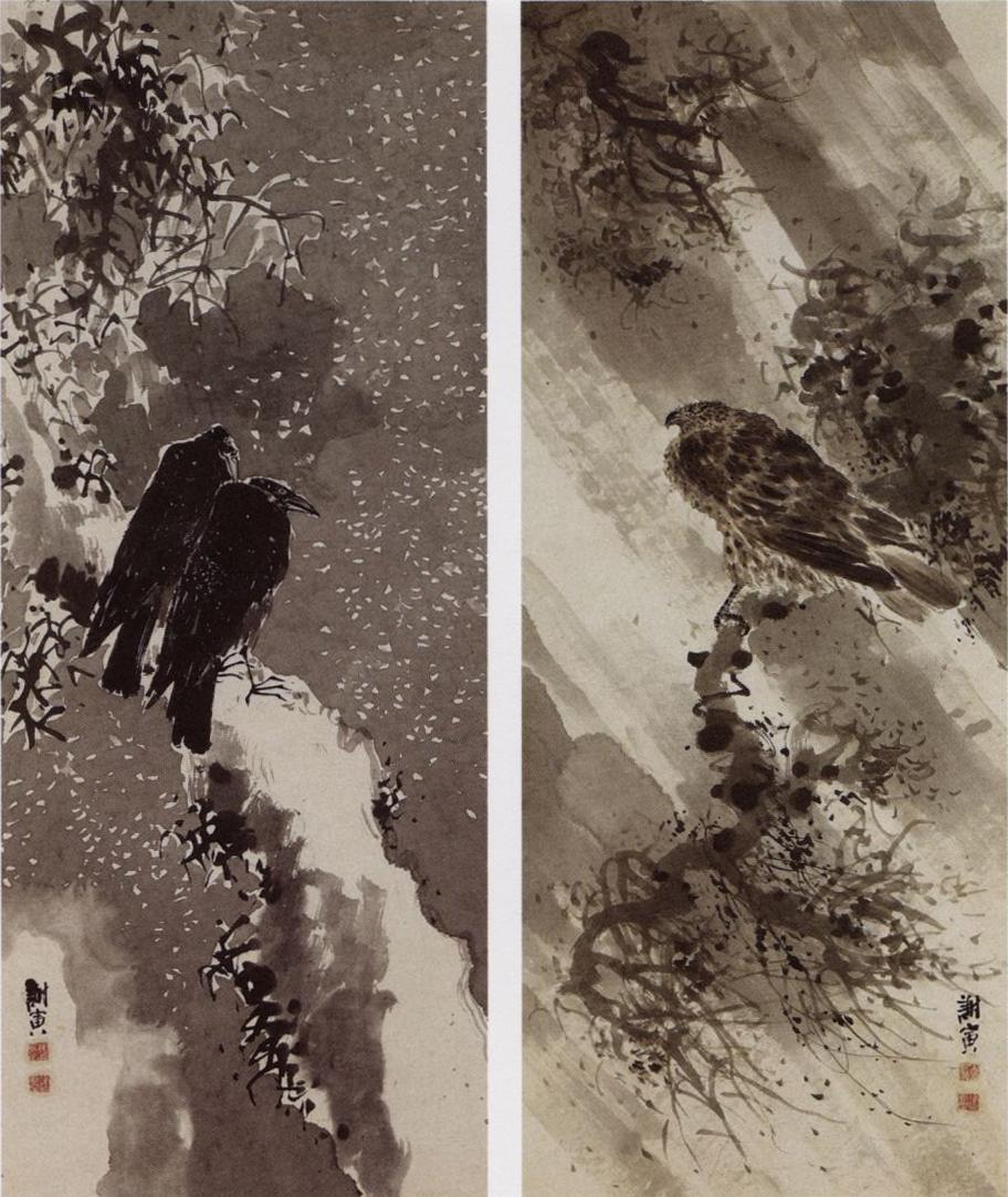 A_black_hawk_and_two_crows_by_Yosa_Buson.jpg