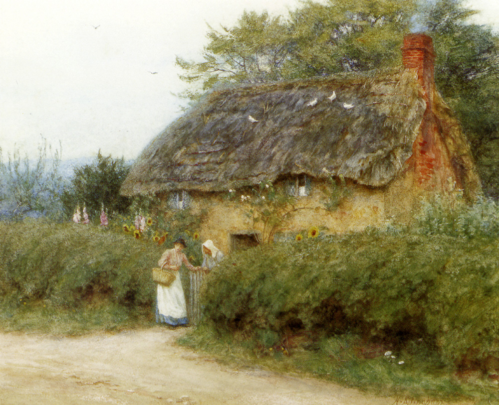 Allingham_Helen_A_Cottage_With_Sunflowers_At_Peaslake.jpg