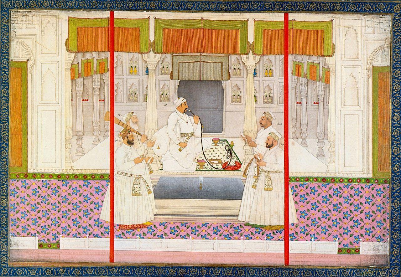 Chitarman_II,_Emperor_Muhammad_Shah_smoking_huqqah,_ca._1730,.jpg