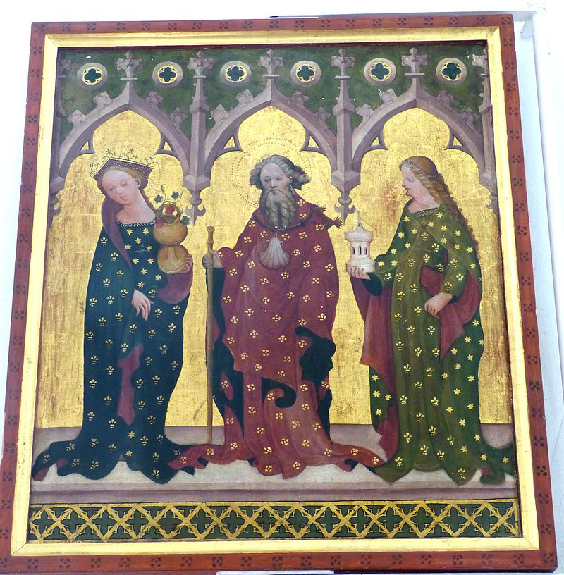 Dornheim_Bachkirche_-_Großer_Flügelaltar_2_Dorothea,_Jakob._Barbara.jpg