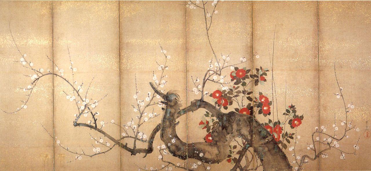 'Flowering_Plum_and_Camellia',_six-fold_screen_by_Suzuki_Kiitsu,_c._1850s,_.jpg