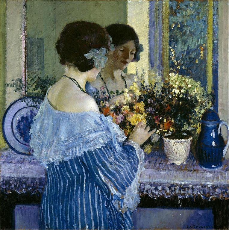 Frederick_Carl_Frieseke_-_Girl_in_Blue_Arranging_Flowers_-_Google_Art_Project.jpg
