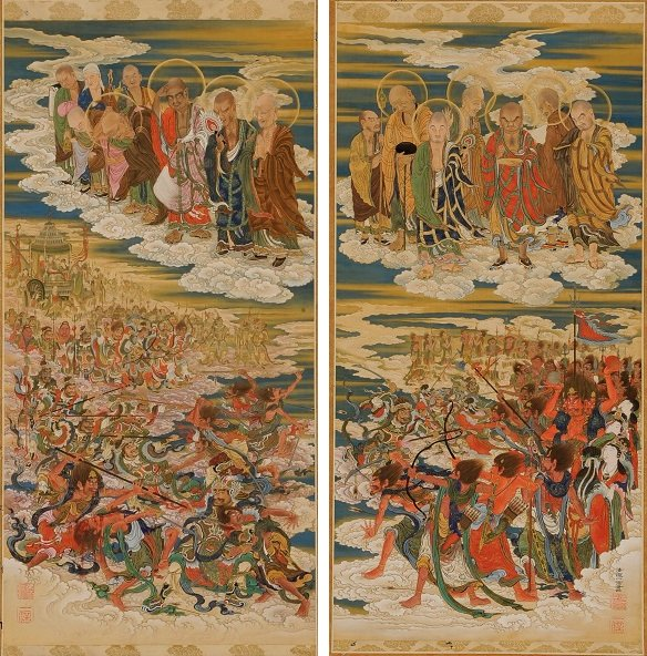 Kano KazunobuThe_Six_Realms,_Warring_Spirits,_Five_Hundred_Arhats,_Scrolls_31_&_32.jpg