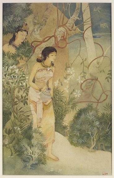 Kshitindranath MajumdarSakuntala-watched-by-King-Dushyanta-by-Kshitindranath-Majumdar.jpg