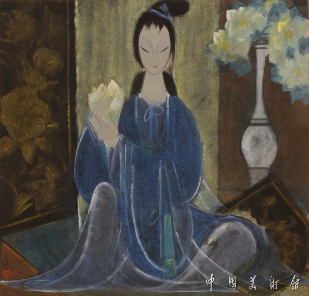 Lin-Fengmian-Traditional-Chinese-Painting-of-Beautiful-Woman-1960-66cm×69cm.jpg