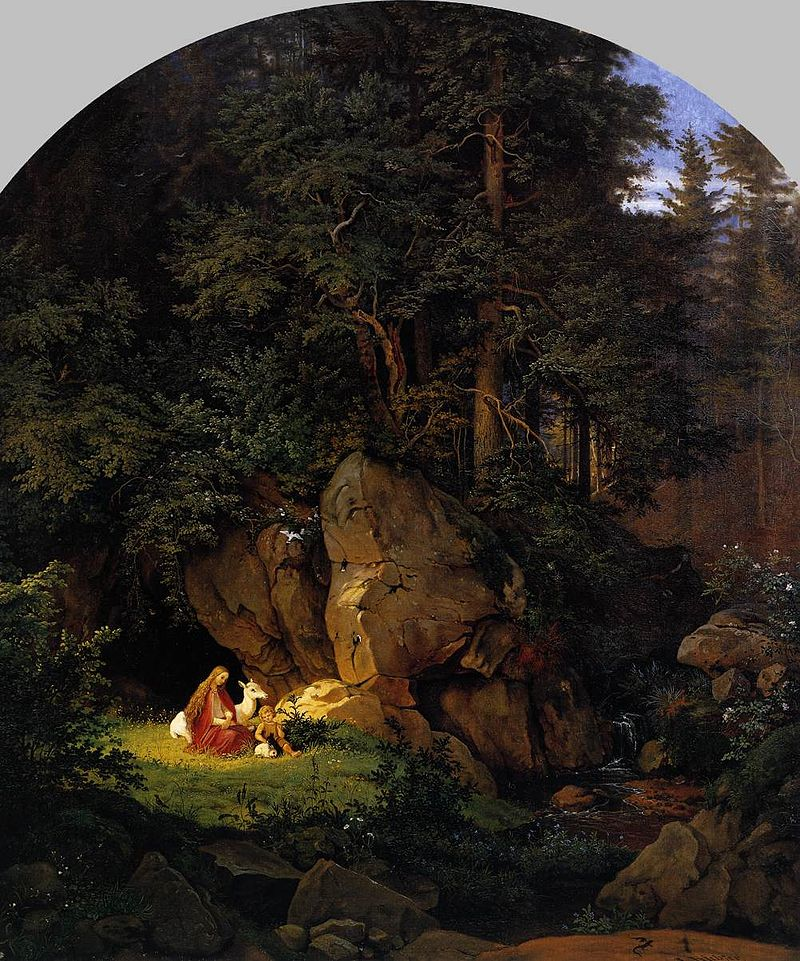 Ludwig_Richter_-_Genoveva_in_the_Forest_Seclusion_-_WGA19456.jpg