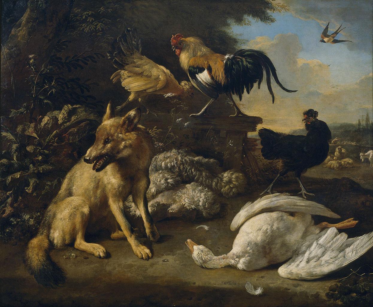 MELCHIOR DE HONDECOETER (1636- 1695).1246px-Bodegón_con_animales_(Hondecoeter).jpg