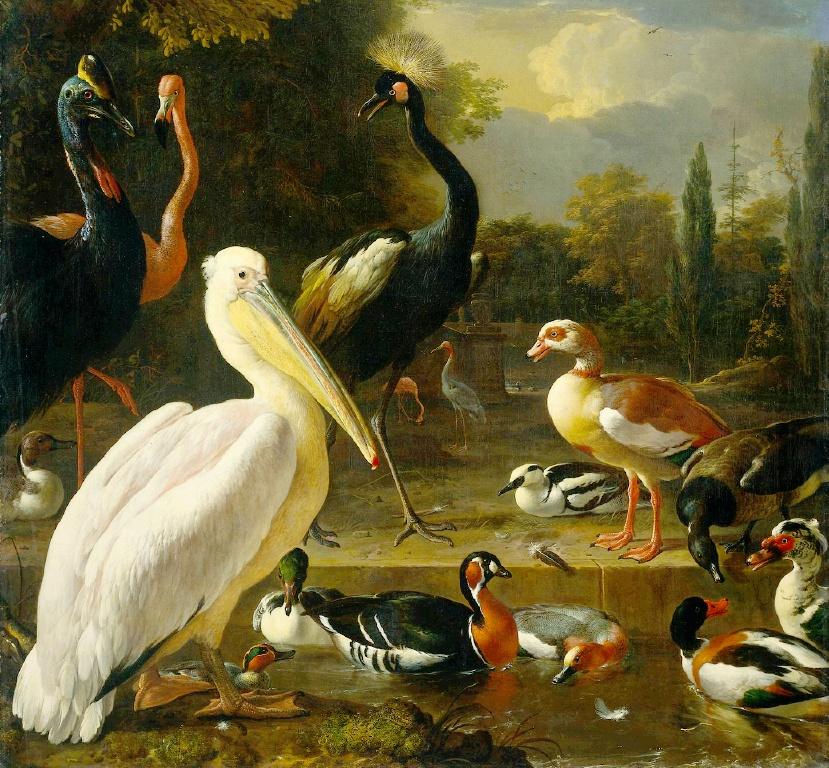 MELCHIOR DE HONDECOETER (1636- 1695).birds_in_a_park-large.jpg