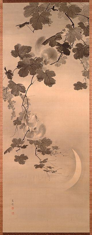 Mori Kansai 1814-94 Budō_to_risu_by_Mori_Kansai.jpg