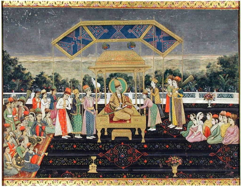 Nadir_Shah_on_the_Peacock_Throne_after_his_defeat_of_Muhammad_Shah._ca._1850,_San_Diego_MOA (1).jpg