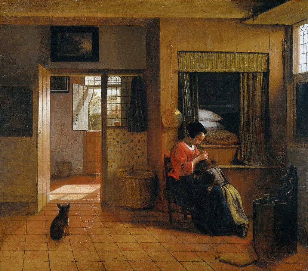 Pieter+de+Hooch+-+Interior+with+a+mother+delousing+her+child+-+;1660.jpg